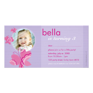 BIRTHDAY INVITE PHOTOCARD :: flutterbybutterfly 3 Photo Greeting Card
