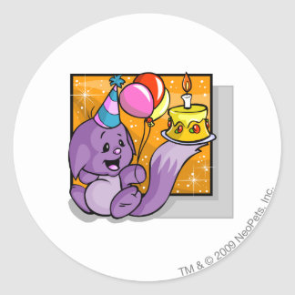 Birthday Kacheek Classic Round Sticker