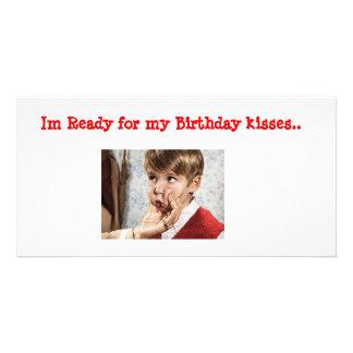 Birthday Kisses Customized Photo Card