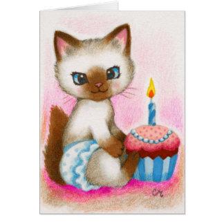 Birthday Kitten - Cute Cat Art Card