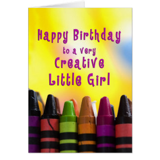 Birthday - Little Girl - Creative - Crayons Card