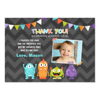 Birthday Little Monster Thank You Card 13 Cm X 18 Cm Invitation Card