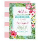 Birthday Luau Invitations | Tropical Flowers