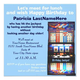 Birthday Luncheon Slot Machine Jackpot 13 Cm X 13 Cm Square Invitation Card