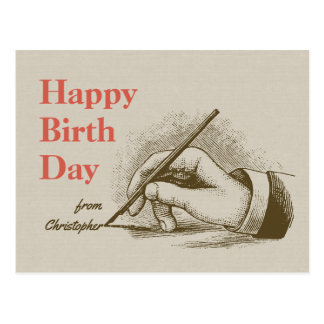Birthday Male hand holding a fountain pen CC0997 Postcard