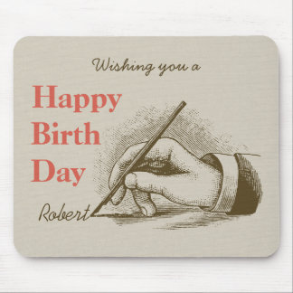 Birthday Male hand holding a fountain pen CC0998 Mouse Pad