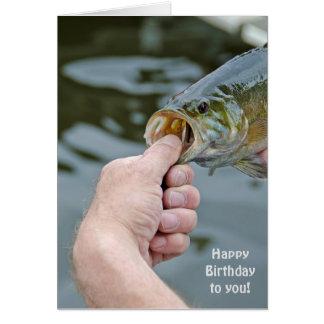 birthday-man holding largemouth bass card
