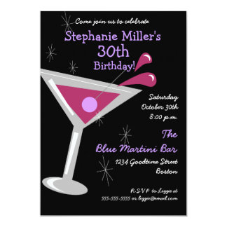 Birthday Martini Cocktail Invitation