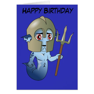 Birthday Merman Neptune's Warrior Card