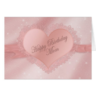 Birthday Mom - Dainty Delicate Heart with Lace Card
