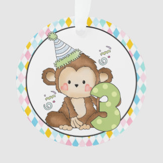 Birthday Monkey age three ornament