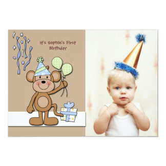 Birthday Monkey Blue Photo Invitation