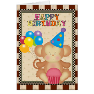 Birthday Monkey cartoon greeting card