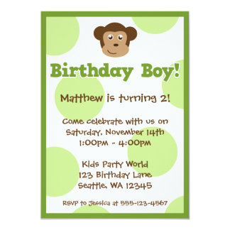 Birthday Monkey Green Polka Dots Boy Birthday Card