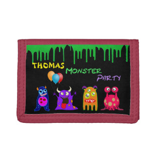 Birthday Monster Party Personalized Party Favors Tri-fold Wallet