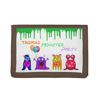 Birthday Monster Party Personalized Party Favors Tri-fold Wallets