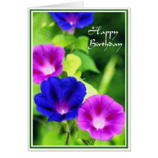 Birthday - Morning Glories Greeting Card