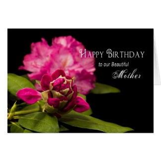 BIRTHDAY - MOTHER - RODODENDRONS - ON BLACK CARD