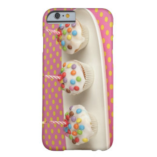 Birthday muffins with icing, sprinkles and barely there iPhone 6 case