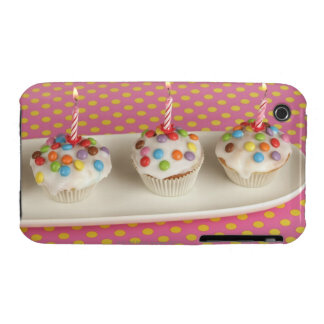 Birthday muffins with icing, sprinkles and iPhone 3 Case-Mate case