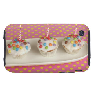 Birthday muffins with icing, sprinkles and tough iPhone 3 cases