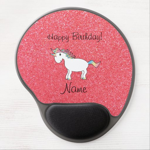 Birthday name unicorn light pink glitter gel mouse pad