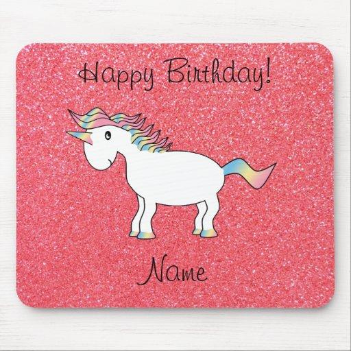 Birthday name unicorn light pink glitter mousepad