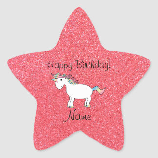 Birthday name unicorn light pink glitter star sticker