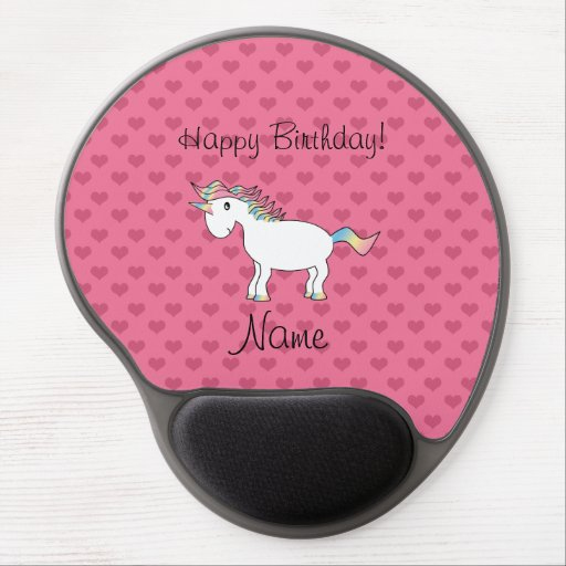 Birthday name unicorn pink hearts gel mouse mats