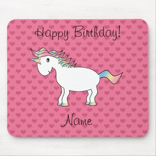 Birthday name unicorn pink hearts mousepad