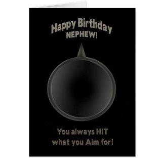 BIRTHDAY - NEPHEW - GUN - AIM GREETING CARD