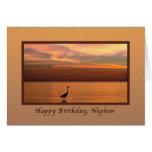 Birthday, Nephew, Ocean View at Sunset Greeting Card