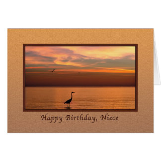 Birthday, Niece, Ocean View at Sunset Greeting Card