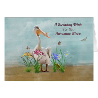 Birthday, Niece, Pelican, Flowers and Butterflies Card