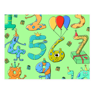 Birthday Numbers, on Pale Green. Post Cards