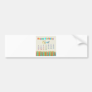 Birthday on April 21st, Colorful Birthday Candles Bumper Sticker