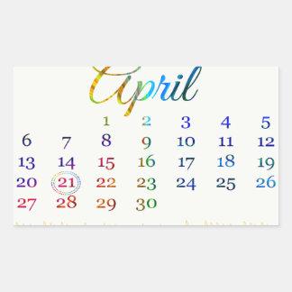 Birthday on April 21st, Colorful Birthday Candles Rectangular Sticker
