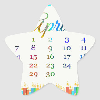 Birthday on April 21st, Colorful Birthday Candles Star Stickers