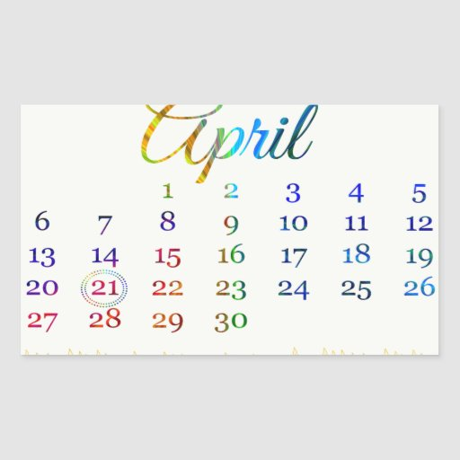 Birthday on April 21st, Colorful Birthday Candles Sticker