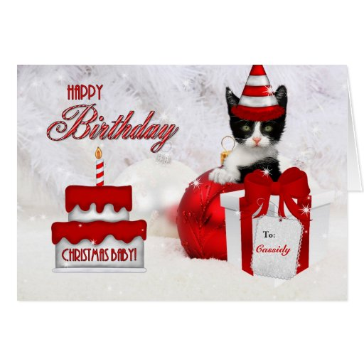 Birthday on Christmas Day Cat and Cake Greeting Cards