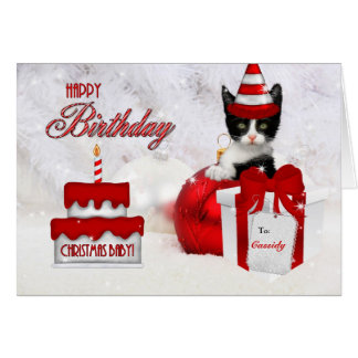 Birthday on Christmas Day Cat and Cake Greeting Card