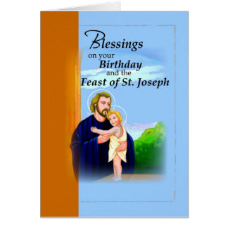 Birthday on Feast of St. Joseph Blue and Brown Greeting Card
