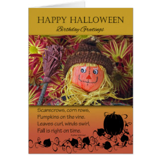 Birthday on Halloween, Scarecrow and Poem Card