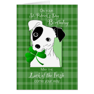 Birthday on St. Patrick's Day Jack Russell Terrier Card