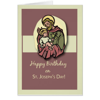 Birthday on the Feast of St. Joseph Brown Greeting Card