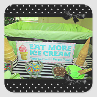 Birthday or Baby Shower Retro Ice Cream Sign Stick Square Sticker