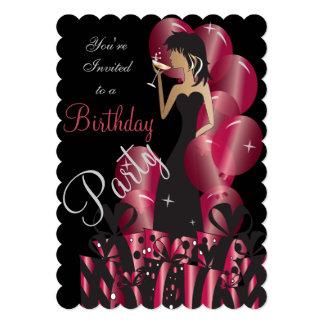 Birthday or Bachelorette Party Diva Princess Girl 13 Cm X 18 Cm Invitation Card