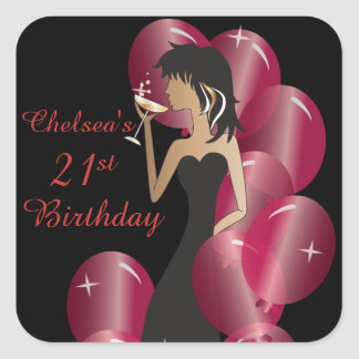Birthday or Bachelorette Party Diva Princess Girl Square Sticker