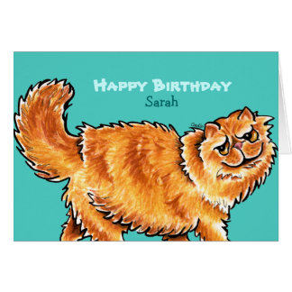Birthday Orange Persian Cat Custom Message Card