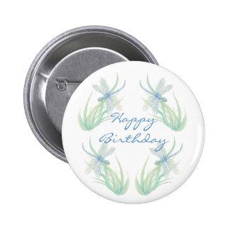 Birthday Original Watercolor Dragonfly in Blue 6 Cm Round Badge